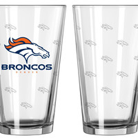 Denver Broncos Satin Etch Pint Glass Set