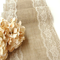 Burlap table runner wedding table runner with country cream lace rustic chic , handmade in the USA