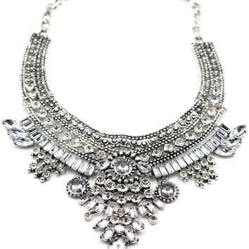 Ethnic traditional crystal silver necklace