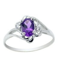 SSDJewelamethystRing002 6*4mm amethyst stone sterling silver ring 002