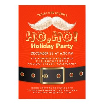 Santa Suit Christmas Ho, Ho, Holiday Party Invite