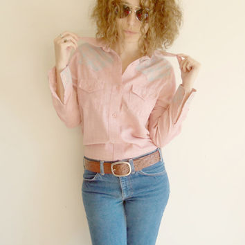 Vintage Pink Western with Pink and Blue Plaid Fitted Button Up Shirt