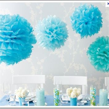 Diameter 20cm 5pcs/lot Paper artificial PomPom Tissue Balls Flower for Home Wedding Party Car Decoration Pompon crafts Supplies