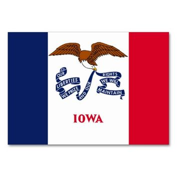 Patriotic table card with Flag of Iowa
