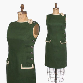 Vintage 60s Sheath DRESS / 1960s TEAL TRAINA Forest Green Linen Bow Trim Wiggle Dress M