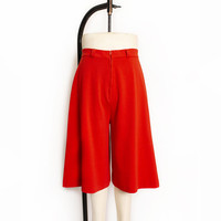Vintage 1970s Culottes - Red Knit Poly Wide Leg High Waist 70s - Medium M