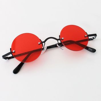 Vintage Inspired Round Sunglasses - Red