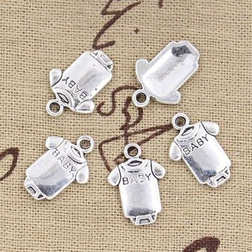 ONETOW 30pcs Charms baby Onesuit coverall cloth 17*12mm Antique pendant fit,Vintage Tibetan Silver,DIY for bracelet necklace