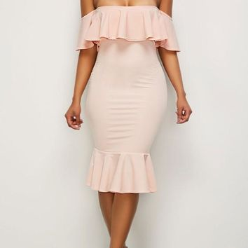 Pink Ruffle Backless Off Shoulder Mermaid Bodycon Homecoming Party Midi Dress