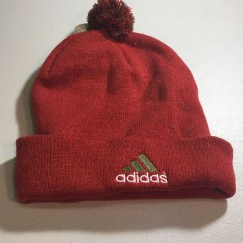 BRAND NEW ADIDAS ORANGE AND RED POMPOM KNIT HAT SHIPPING