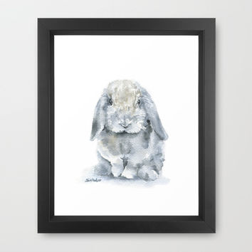 Mini Lop Gray Rabbit Watercolor Painting Framed Art Print by Susan Windsor