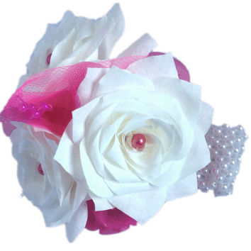 Hot pink corsage, White corsage, Prom corsage, Fake Flower corsage, Groom boutonniere, Paper corsage, Boutonniere, Paper boutonniere