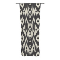 "Amanda Lane ""Black Cream Tribal Ikat"" Tan Dark Decorative Sheer Curtain"