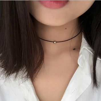 New Popular Women Jewelery Pure Black Knit Leather Necklace Accessories Chinese Fashion Jewelry