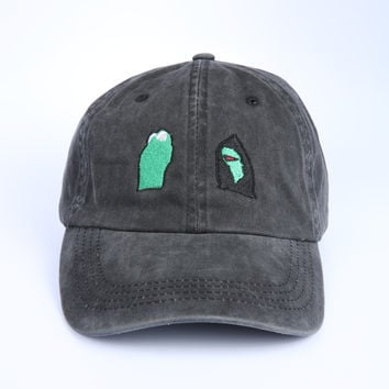 The Evil Kermit Dad Hat in Black Mineral