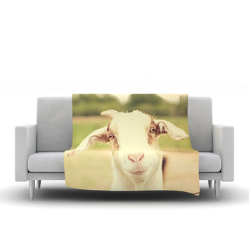 "Angie Turner ""Happy Goat"" Smiling Animal Fleece Throw Blanket"