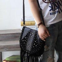 Punk Style Long Fringed Rivet Crossbody Bag