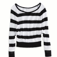 AE STRIPED CROPPED RAGLAN SWEATER
