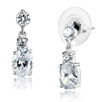 The Regent, A 2.54TCW Oval Cut & Round Cut Cubic Zirconia Bridal Drop Earring Set