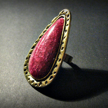 Big Bold Bohemian Ring, Hippie, Boho, Teardrop Statement Ring,Adjustable, Antique Bronze, Burgundy ,Grand Opening Sale