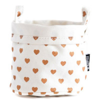 Canvas Bucket - Copper Hearts