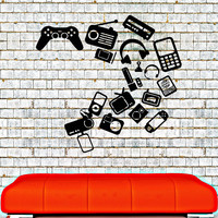 Vinyl Wall Decal Gadgets Video Games Joystick Playroom Teen Room Stickers (012ig)