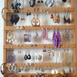 Jewelry Holder, Earring Holder, Wall Hanging, Oak, Wood, Honey, 90-180 Pairs, 7 Peg Jewelry Bar