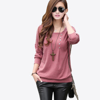 Blouse Women blouses Winter Top 2016 With Buttons Long Sleeve O-neck Cotton Loose Shirt Batwing Sleeve Plus Size XXL 2XL Blusa
