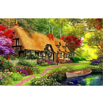 5D DIY Diamond Embroidery Garden Bungalow Cross Stitch kits Abstract Oil Painting Resin Hobby Craft 40 X 30cm