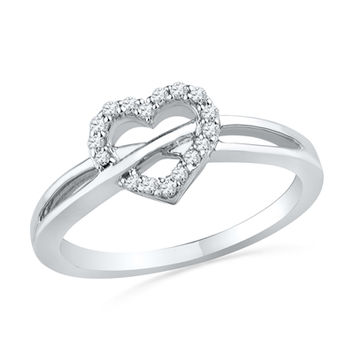 1/10 CT. T.W. Diamond Heart Promise Ring in Sterling Silver
