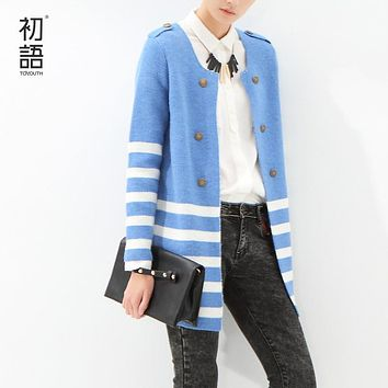 Toyouth 2017 Women's Sweater Striped Mid-Length Knitted Cardigan Ladies Long Sleeve Sweaters Single Breasted O-Neck Outerwear