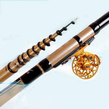 YUYU Carbon 4.5m 5.4m 6.3m 7.2m Telescopic Fishing Rod Ultra Light Front Fishing Rod Spinning 3 position pole Tackle Sea Rod