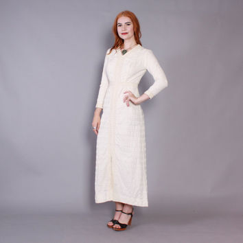 60s WHITE Cotton CROCHET DRESS / 1960s Long Sleeve Textured Casual Bohemian Wedding Dress