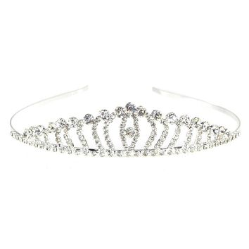 Rhinestone Tiara Crown, Silver, 1-Inch, Waves