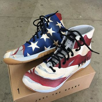Custom Painted Distressed American Flag NOBULL High Tops