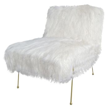 Watford Faux Fur Chair, White