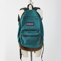 Vintage JANSPORT Unisex Canvas Backpack - Large 80s 90s Teal Green Rucksack Day Pack Bag w/ Suede Leather Trim -  Made in USA