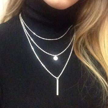 N672 Exo Collares Bijoux Sequins Multilayer Metal Strip Long Necklaces For Women Jewelry Gift Girl One Direction