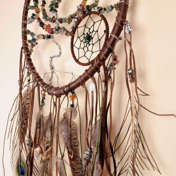 Tree Dream Catcher, Large Dreamcatcher, Brown Dream сatcher, dreamcatchers, , boho dreamcatchers, wall decor, handmade, jasper stone