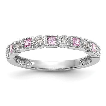 14k White Gold Round Diamond With Square Pink Sapphire Anniversary Band