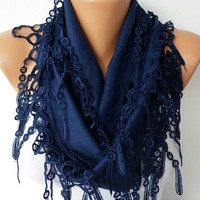 Navy  Blue Scarf  -Pashmina  Scarf  - Cowl  Scarf with Lace Edge - fatwoman