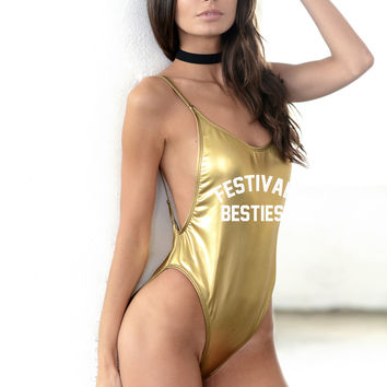 Festival Besties One Piece - Swimsuit - White or Black - Cake Life®