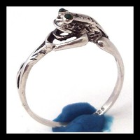 1980s Silver Frog Ring