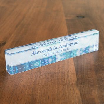 Personalized Blue Daisy Desk Nameplate
