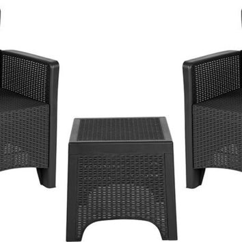 Dark Gray Faux Rattan Plastic Chair Set with Matching Side Table [DAD-SF3-2P-SET-GG]