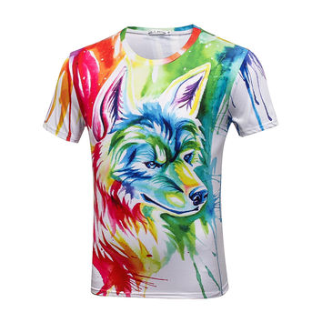 Wolf Print Blouse Outdoor Men's Short Sleeve T-Shirt Gym Combat Shirt Quick-dry Stand Collar Tee Polyester Blend Tops