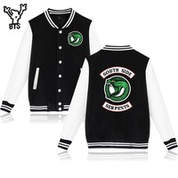 Jughead Jones Wuz Here Cool Jackets Popular Fashion Riverdale College Varsity Funny Patchwork Baseball Jacket BTS A4890-A7136