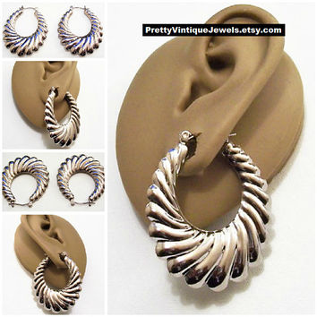 Swirl Line Graduated Hoops Pierced Earrings Silver Tone Vintage Ribbed Puffed Long Large Oval Open Ring Dangles Surgical Steel Posts
