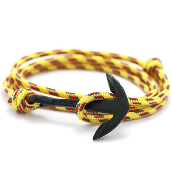 Matte Black Anchor On Yellow Rope Bracelet