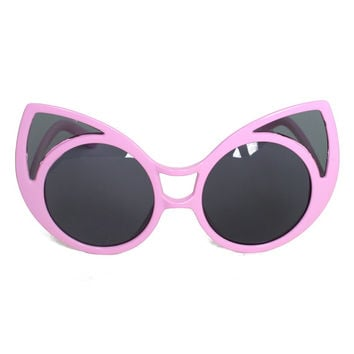 "Vintage Kitty Cat Sunglasses, 1980s Wayfarers ""Felina"" Hot Pink Frame Shades"